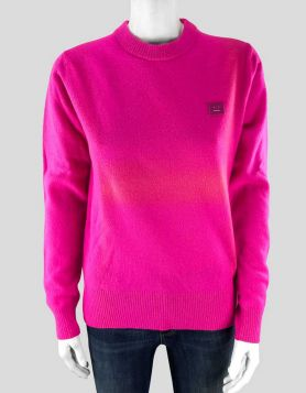 Acne Studios Nalon Face long sleeve knit wool sweater in 'bright' pink Size: X-Small
