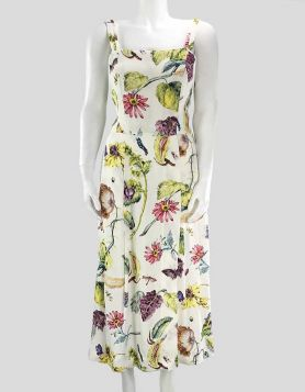 Adam Lippes floral print sleeveless crepe midi dress in cream, patterned with a lush floral print