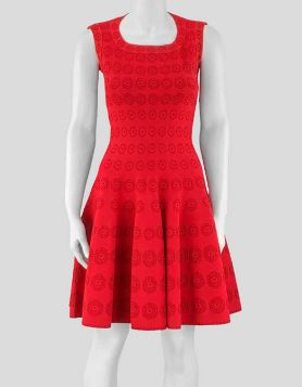 Alaïa red sleeveless, scoop-neck A-line mini dress