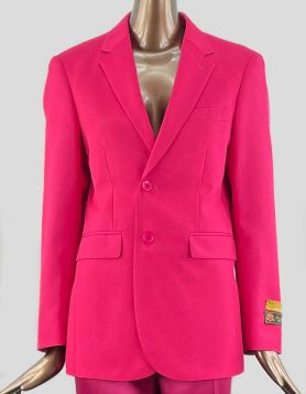 Alberto Nardoni Men's Pink Blazer with notched lapels & double vents. Two Pockets & Satin Lining. Two-Button closure at front. Size 36 R