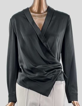 Alice + Olivia long sleeve black evening blouse with cross-over front closure Size: 8 US