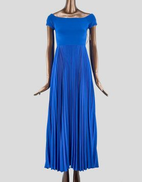 Alice + Olivia royal blue long evening gown with square neck. Short sleeves and pleated skirt. Exposed zip closure at back.