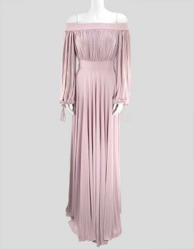 Alexander McQueen off-the-shoulder, floor-length, gathered bodice dress draped from swathes of pink cascading jersey