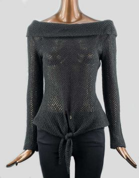 Anon off-the-shoulder loose-knit sweater with tie design in front and long sleeve. Hi-low cut. Size: Small