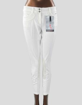 Ariat Pro Series low-rise front zip, knee patch equestrian riding pants. Front zip and two-clasp closure. Two front pockets. Size 28R US