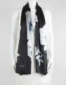 Armani Collezioni black silk scarf with white and blue floral print.