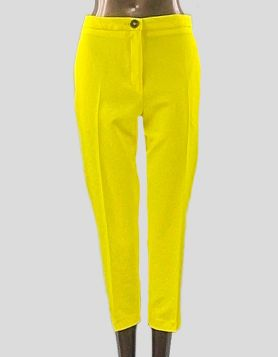 ASOS bright yellow high-rise, flat front cropped pants. Front zip and button closure. Size 6 Petite US