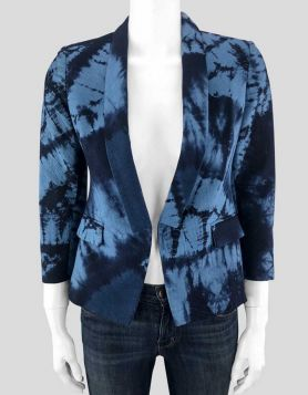 Band of Outsiders, Boy, blazer in dark and light blue tie-dye with cropped sleeves. Lined. Size 0 US