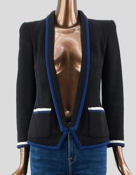 Barbara Bui Evening Jacket in blue with black trim.