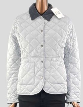 Barbour Grey Deveron Quilted Jacket Coat with dark grey corduroy collar. Snap front closure. Two front pockets. Size 6 US