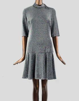 Black Halo mini dress in metallic knit. Mock turtleneck. Size 12 US