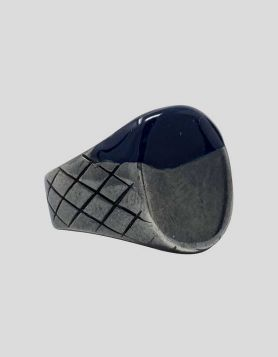 Bottega Veneta limited-edition Oxidized silver signet ring with cobalt blue paint-inspired design on face