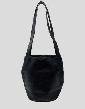 Bottega Veneta vintage mini bucket bag in black leather with dual flat handles.