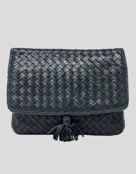 Bottega Venata Vintage Crossbody Bag in Navy Blue leather - front of bag