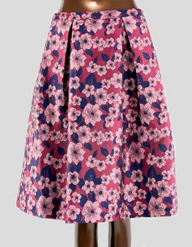 Brooks Brothers pleated A-line skirt in a rich burgundy, pink and navy flower print.  Side pockets.  Concealed back zipper closure. Size 4 US
