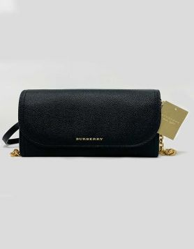 Burberry London Henley Wallet-on-chain black leather shoulder bag featuring soft grained leather