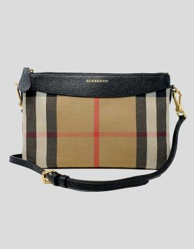 Burberry Check House Crossbody bag in a slim yet spacious silhouette that converts from clutch to crossbody