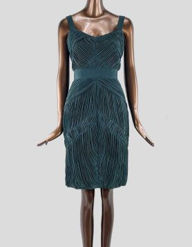 Burberry London Sheath Dress featuring pleated accents throughout. Sleeveless with sweetheart neckline.