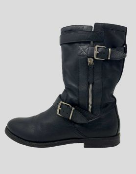 Burberry rugged leather mid-calf moto boots with round toe, and buckle detail at ankle and collar