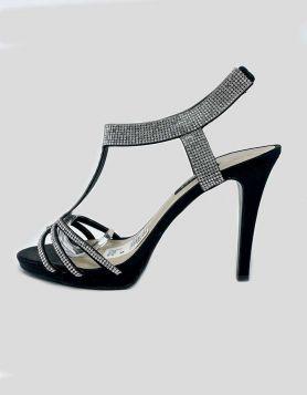 Caparros black satin evening platform sandals featuring satin upper T-Strap with rhinestone studs. Size 9.5 US