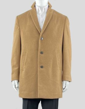 Calvin Klein men's 'Prosper' overcoat is designed with an extra-slim fit and a timeless notched lapel.