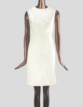 Carolina Herrera Virgin Wool Knee-Length Dress. Sleeveless with crewneck. Two front angled, concealed pockets.