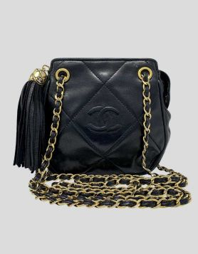 Chanel Vintage CC Black Quilted Lambskin Leather Shoulder bag with gold-tone hardware, dual woven chain-link shoulder straps