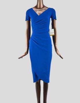 La Petite Robe di Chiara Boni Bateau AJAK Jersey Wrap Dress in dark royal blue. 38 IT |2 US
