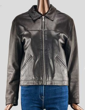 Club Monaco Relaxed Moto Jacket in dark brown leather with front zip. Front side pockets. Boxy style. Size: Medium