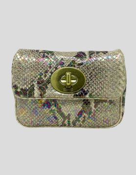 Coach metallic snakeskin shoulder bag with gold-tone chain and hardware