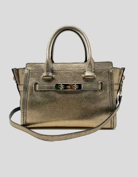 Coach Gold Leather Swagger 27 Carryall Top Handle Bag