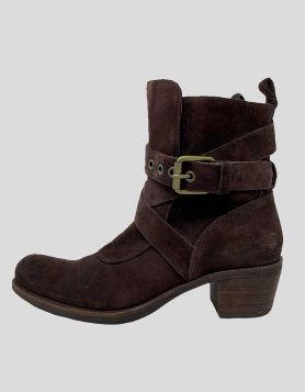 Cole Hahn G Series Brown Suede Buckle Ankle Boots - Round toe