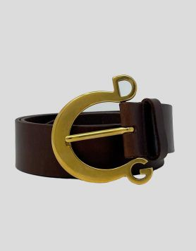 Dolce & Gabbana men's Waist Belt in brown leather with gold-tone hardware. Buckle closure. Size 36 US