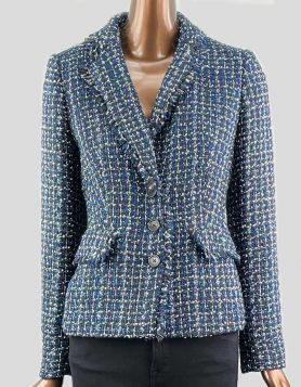 DKNY Tweed Blazer in blue, black and ivory.  Notched collar with three-button front closure and two front pockets. Size 6 US