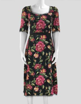 Dolce & Gabbana rose print Cady A-Line dress with a sweetheart neckline