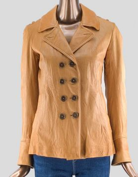 Duarte Jeans double-breasted button-close tan leather jacket with two front slit pockets, ASO Gossip Girl