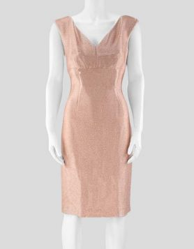 Escada sleeveless v-neck cocktail dress in a rose gold metallic shimmer, from Elizabeth Hurley's  wardrobe