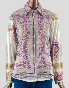Etro Paisley Print Long Sleeve Blouse in brown, tan, blue and red neutrals Size 42 IT | 6 US