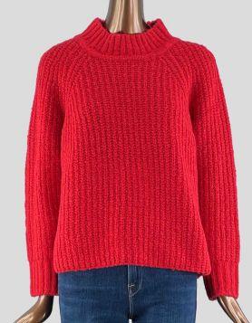Farm Rio Mock Turtleneck chunky sweater in red