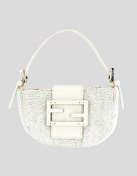 Fendi Zucca Mamma Baguette Mini Hand Bag white beaded