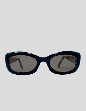 Fendi two-tone acetate oval sunglasses with tinted lenses and FF logo appliqués at arms.