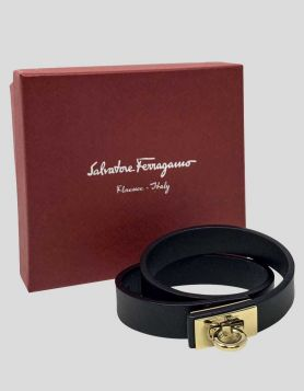 Salvatore Ferragamo Gancini Leather Wrap Bracelet
