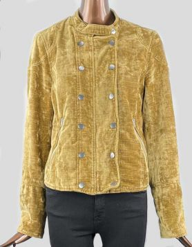 Free People 'Dusk Till Dawn' velvet jacket featuring asymmetrical zip closure with snap placket, band collar and zip cuffs. Front zip pocket. Medium