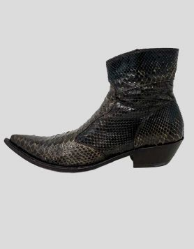 Gianni Barbato men's brown python pointed-toe ankle boots with stacked heels, leather soles and zip closures at insteps. Size 41.5 IT | 8.5 US