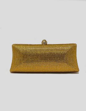Gold Jewelbox clutch with gold rhinestone embellishments throughout