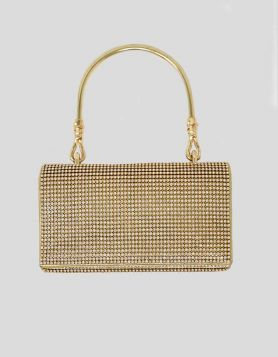 Gold evening clutch bag with crystal sequin embellishments throughout. Gold-tone metal handle with fold-over flap closure.