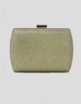 Gold glitter Jewel Box evening clutch bag with gold-tone trim. Push-lock closure. Gold interior lining.