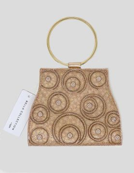 Bella Collection evening clutch bag in rose gold leather with rose gold and white rhinestone embellishments on front. Gold circle handles.