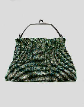 Green Rhinestone evening clutch bag with rhinestone embellishments throughout. Metal-gun tone handles with kiss-lock closure.