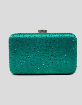Green Jewelbox evening clutch bag with green crystal embellishments throughout. Push-lock closure with gold-tone hardware and green rhinestone embellishments.
